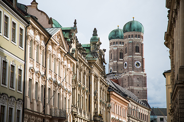 Munich's historic facades with Liebfrauenkirche in the background